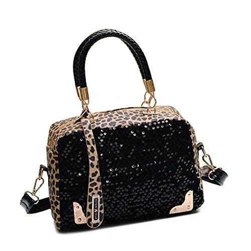 vakind damen handtasche leopard bling pailletten tote. Black Bedroom Furniture Sets. Home Design Ideas