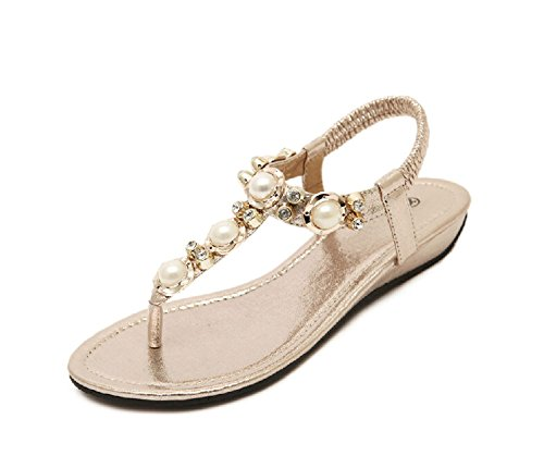 lemontree damen m dchen sommer bohemia flach zehentrenner sandalen 40 gold modische. Black Bedroom Furniture Sets. Home Design Ideas