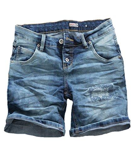 damen jeans bermuda short 5 pocket look tiefer jeansbermuda mit knopfleiste washed m modische. Black Bedroom Furniture Sets. Home Design Ideas