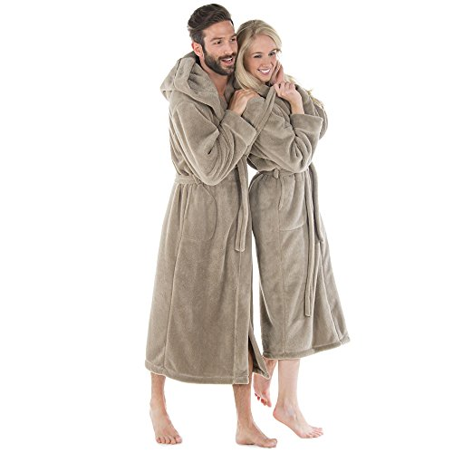 celinatex bademantel damen herren mit kapuze wadenlanger saunamantel flauschiger sherpa fleece. Black Bedroom Furniture Sets. Home Design Ideas